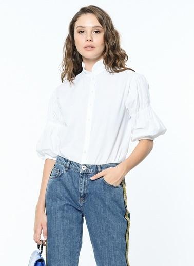 Yaka Ve Kol Detaylı Kısa Kol Gömlek-Koton